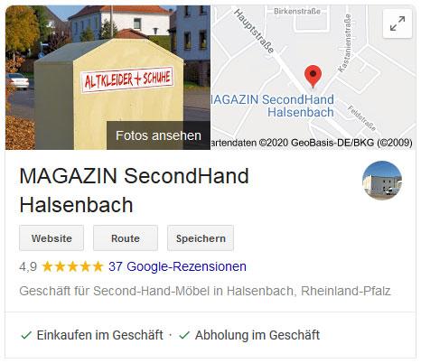 MAGAZIN Halsenbach mit 5* Bewertung bei Google